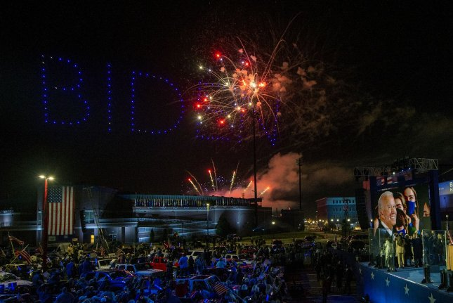 President-elect Joe Biden, Vice President-elect Kamala Harris and their families watch fireworks and drones spelling out Biden during victory celebration in Wilmington, Del., on Saturday. Photo by Pat Benic/UPI