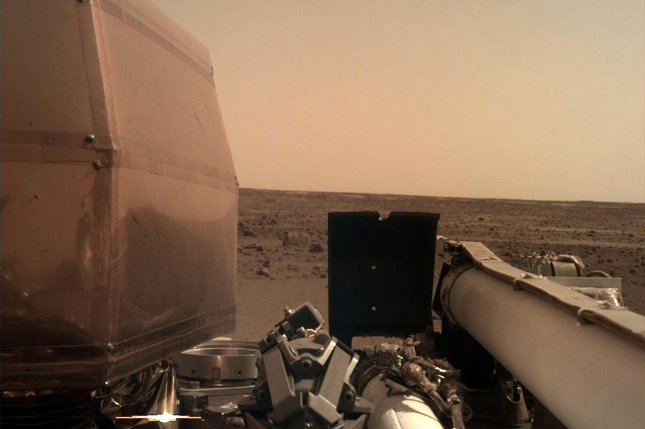 Seismological data collected by NASA's InSight Mars Lander, pictured, has allowed scientists on Earth to determine the make-up of the Red Planet's interior, as well as offered clues to its formation in the early solar system. File Photo by NASA/UPI