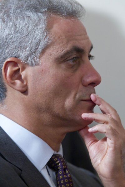 Rahm Emanuel, White House chief of staff, listens to U.S. President Barack Obama speak In the East Room of the White House in Washington on September 10, 2010. President Obama appointed Goolsbee to lead the Council of Economic Advisers, replacing Christina Romer. UPI/Andrew Harrer/Pool