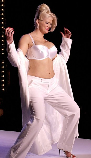 Actress Anna Nicole Smith shown in a February 5, 2001 file photo modeling for Lane Bryant, died after collapsing in a hotel in Hollywood, Florida on February 8, 2007. (UPI Photo/Ezio Petersen/FILE)