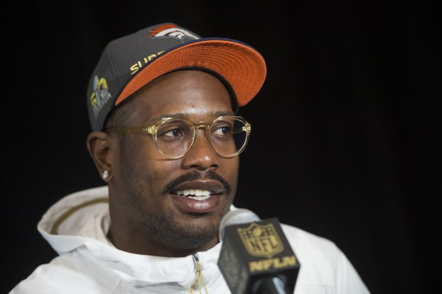 Denver Broncos' Von Miller speaks to the media in Santa Clara, California on February 2, 2016. Photo by Kevin Dietsch/UPI