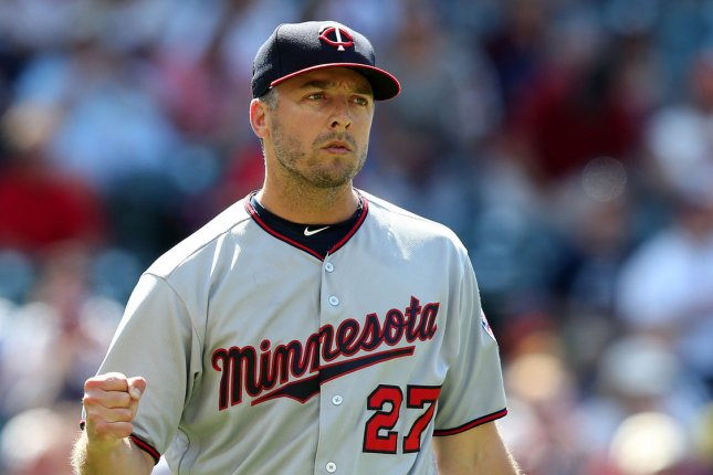 Former Minnesota Twins closer Brandon Kintzler pumps his fist after recording the last out to defeat the Cleveland Indians at Progressive Field in Cleveland, Ohio on June 25, 2017. File photo by Aaron Josefczyk/UPI