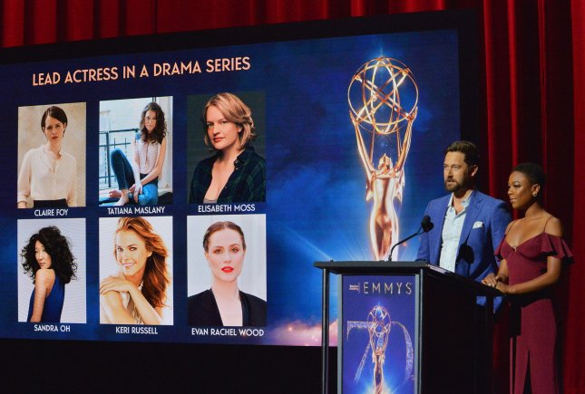 Actors Ryan Eggold (L) and Samira Wiley announce the nominations for the 70th annual Primetime Emmy Awards at the Television Academy's Wolf Theatre in North Hollywood on Thursday. Photo by Jim Ruymen/UPI