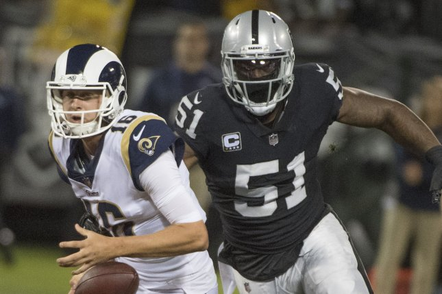 Los Angeles Rams quarterback Jared Goff (L) is sacked for a nine-yard loss by Oakland Raiders defender Bruce Irvin (51) and fumbles the ball in the second quarter on September 10, 2018 at the Coliseum in Oakland, California. Photo by Terry Schmitt/UPI