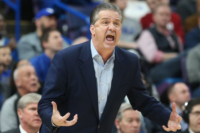 Kentucky head basketball coach John Calipari said he thought officials should have reviewed the final play of the game for goaltending after a loss to LSU on Tuesday in Lexington. File Photo by BIll Greenblatt/UPI