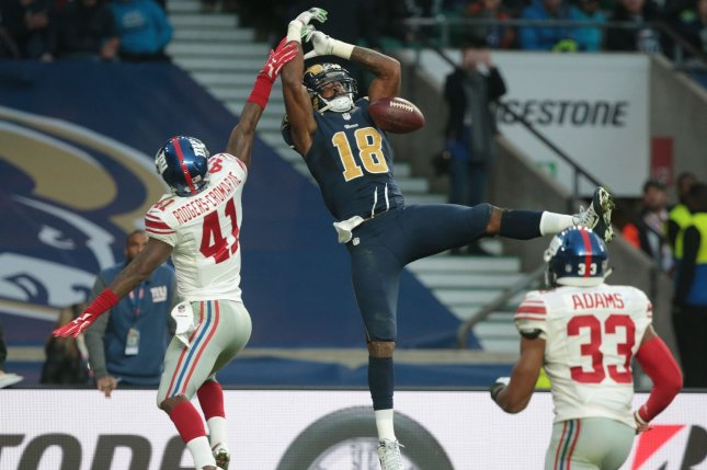 Former Los Angeles Rams wide receiver Kenny Britt (C) sat out the 2018 season after being cut by the New England Patriots. File Photo by Hugo Philpott/UPI