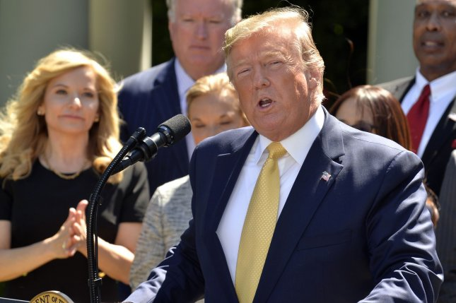 President Donald Trump makes remarks on expanding healthcare coverage options for small businesses and workers at the White House on Friday. Photo by Mike Theiler/UPI