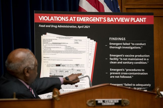 Rep. James Clyburn, D-S.C., points to a display during a House select subcommittee hearing on Capitol Hill in Washington, D.C., on May 19 to examine the actions by Emergent that led to the destruction of millions of doses of COVID-19 vaccines. File Pool Photo by Stefani Reynolds/UPI