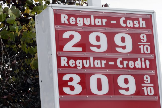 A gas station at the entrance to the Holland Tunnel sells gas for below $3 a gallon in Jersey City, N.J. on Oct. 29, 2014. This week, the national average for a gallon of regular might hit $3, a low that hasn't been reached since 2010. UPI/John Angelillo