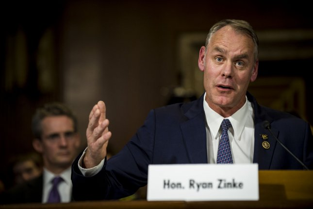 Rep. Ryan Zinke, R-Mt, testifies before the Senate Committee on Energy and Natural Resources on Tuesday during his confirmation hearing to be President-elect Donald Trump's interior secretary. Photo by Pete Marovich/UPI