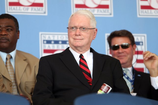 National Baseball Hall of Fame member Jim Bunning watches induction ceremonies from the stage in Cooperstown, New York. File photo by Bill Greenblatt/UPI