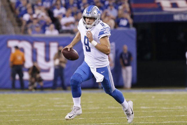 Detroit Lions Matthew Stafford scrambles with the football in the first quarter against the New York Giants in week 2 of the NFL at MetLife Stadium in East Rutherford, New Jersey on September 18, 2017. File photo by John Angelillo/UPI