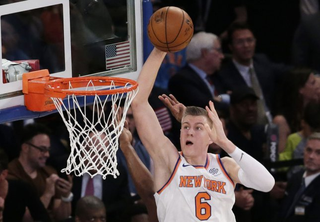 Kristaps Porzingis and the New York Knicks soared past the New Orleans Pelicans on Saturday. Photo by John Angelillo/UPI