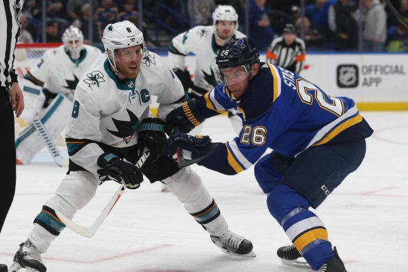 San Jose Sharks forward Joe Pavelski (L) missed the Sharks' last six games with an undisclosed injury. File Photo by Bill Greenblatt/UPI
