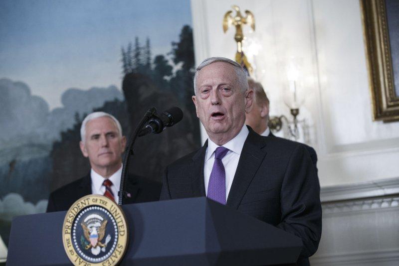 Gen. James Mattis, then secretary of defense, speaks to the media at the White House in 2018. File Photo by Alex Edelman/UPI