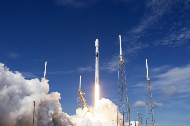 SpaceX launches 58 more Starlink satellites on its Falcon 9 rocket from Cape Canaveral Air Force Station, Fla., on August 18.. Three SkySat Earth imaging satellites are also on board to hitch a ride to earth orbit. File Photo by Joe Marino/UPI