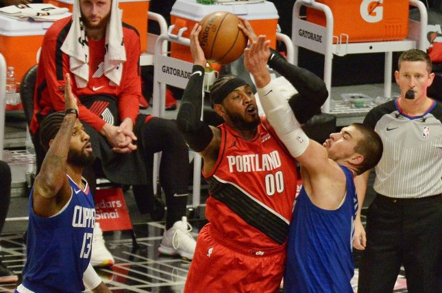 Portland Trail Blazers forward Carmelo Anthony (00), shown Dec. 30, 2020, entered Monday's game against the Atlanta Hawks nine points behind Elvin Hayes on the league's all-time scoring list. File Photo by Jim Ruymen/UPI