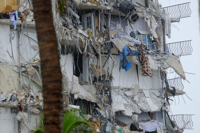 About half the units at this Surfside, Fla., condo collapsed early Thursday. Photo By Gary I Rothstein/UPI