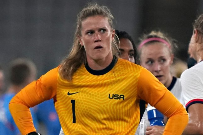 United States Women's National Team goalkeeper Alyssa Naeher looks at the scoreboard after losing 3-0 against Sweden in a Group G game at the 2020 Summer Games on Wednesday in Tokyo. Photo by Richard Ellis/UPI
