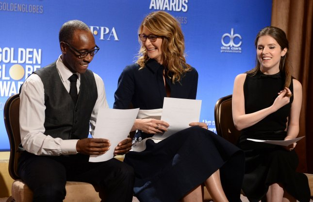 Actors Don Cheadle, Laura Dern and Anna Kendrick prepare to announce the nominees for the 74th annual Golden Globe Awards at the Beverly Hilton Hotel in Beverly Hills, California on December 12, 2016. Photo by Jim Ruymen/UPI