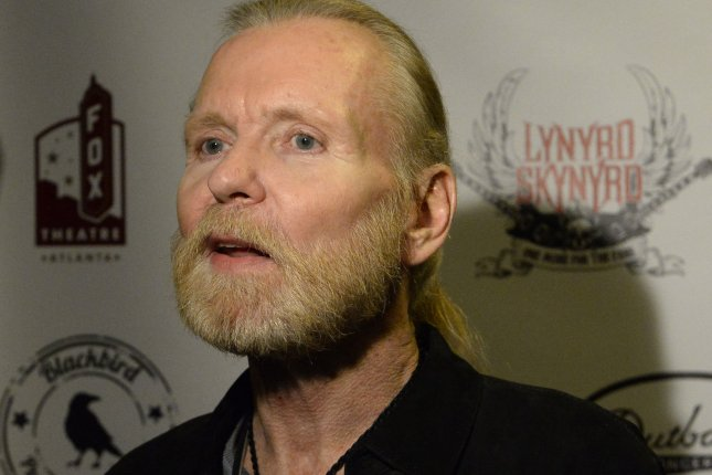 Rock and blues singer Gregg Allman arrives backstage for One More for the Fans! -- Celebrating the Songs & Music of Lynyrd Skynyrd, in Atlanta on November 12, 2014. He died May 27 and was buried Saturday. File Photo by David Tulis/UPI