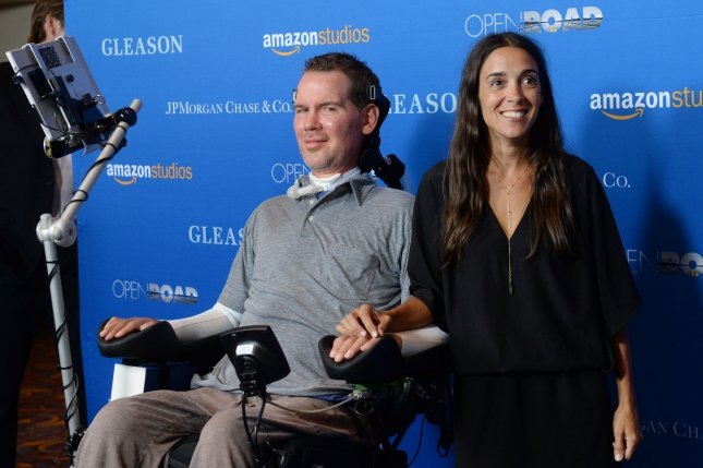 Steve Gleason (L) and Michel Varisco attend the motion picture documentary Gleason on July 14, 2016 at Regal L.A. Live in Los Angeles. File photo by Jim Ruymen/UPI