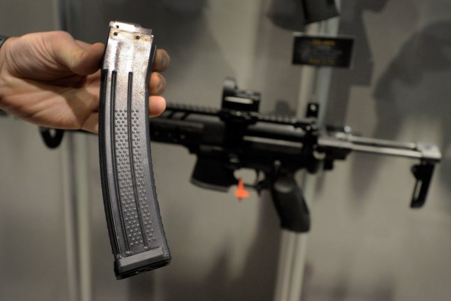 A high-capacity magazine for Sig MPX, a 9mm submachine gun is on display at a Las Vegas trade show in 2013. File Photo David Becker/UPI