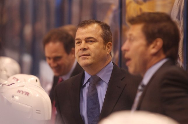 The Philadelphia Flyers hired former New York Rangers head coach Alain Vigneault on Monday. Vigneault coached the Rangers for five seasons before he was fired last April. File Photo by Bill Greenblatt/UPI