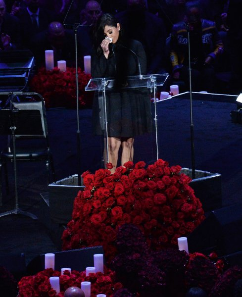 Vanessa Bryant is overcome with emotion and grief as she addresses family members, friends and fans attending the Celebration of Life for Kobe and Gianna Bryant memorial ceremony at Staples Center in Los Angeles on Monday. Photo by Jim Ruymen/UPI