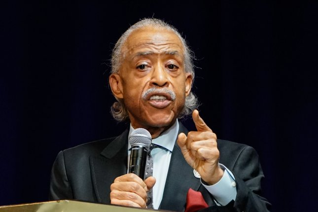 Rev. Al Sharpton is shown delivering remarks during the funeral of Daunte Wright on April 22 in Minneapolis. File photo by Jemal Countess/UPI