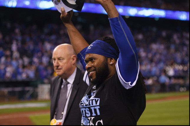 Kansas City Royals starting pitcher Johnny Cueto (47) celebrates after defeating the Houston Astros in game 5 of the American League Division Series at Kauffman Stadium in Kansas City, Missouri on October 14, 2015. Photo by Jeff Moffett/UPI
