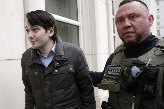 Former Turing Pharmaceuticals CEO Martin Shkreli, AKA the pharma bro arrives at the federal courthouse in Manhattan to face charges he ran another drug company like a Ponzi scheme. Shkreli, writing on Twitter on Thursday, said he is endorsing Donald Trump for president. Photo by John Angelillo/UPI