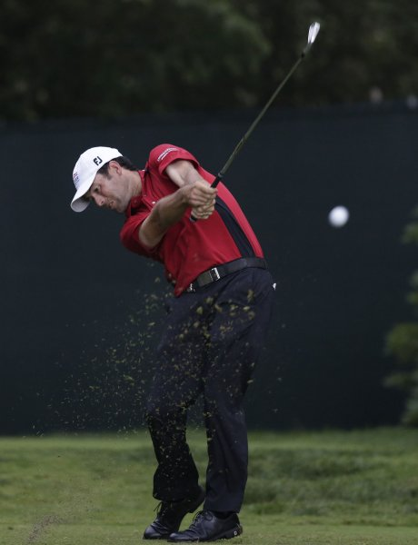 Robert Streb hits his tee shot during the PGA Championships. Streb is currently a few strokes back heading into the final round at Greenbrier. Photo by John Angelillo/UPI