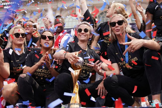 U.S. women's soccer star Allie Long (R) was in New York City receiving a key to New York City Wednesday before she joined her team in Los Angeles to attend Thursday's 2019 ESPY Awards. Photo by John Angelillo/UPI