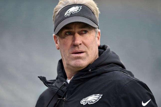 Philadelphia Eagles head coach Doug Pederson (pictured) was criticized for his decision to bench Jalen Hurts in favor of Nate Sudfeld during Sunday's game against the Washington Football Team. File Photo by Derik Hamilton/UPI