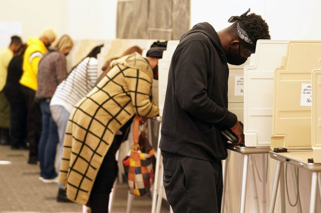 Voters cast their ballots at the St. Louis County Board of Elections office on November 3. File Photo by Bill Greenblatt/UPI