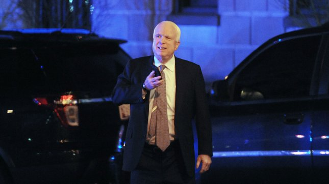 Republican Senator John McCain (R-AZ) leaves the Jefferson Hotel after a dinner with President Barack Obama March 6, 2013 in Washington, DC. UPI/Olivier Douliery/Pool