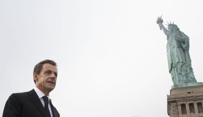 French President Nicolas Sarkozy visits Liberty Island in New York. UPI/Jason DeCrow/POOL