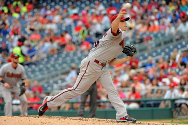 Arizona Diamondbacks starting pitcher Jeremy Hellickson (58) pitches against the Washington Nationals in the second inning at Nationals Park in Washington, D.C. on August 6, 2015. Photo by Mark Goldman/UPI