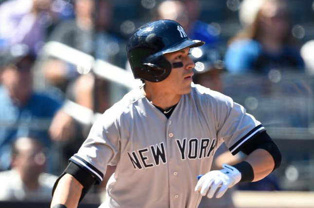 New York Yankees center fielder Jacoby Ellsbury (22) singles in the 1st inning against the New York Mets at Citi Field in New York City on September 19, 2015. Photo by Rich Kane/UPI