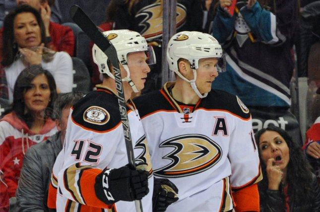 Corey Perry (R) recorded two goals and an assist to lead the Anaheim Ducks to a 5-2 win over the Washington Capitals on Sunday night in front of a sellout crowd of 17,174 at the Honda Center. File Photo by Mark Goldman/UPI