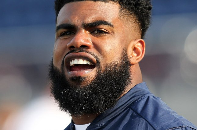 Dallas Cowboys RB Ezekiel Elliott prior to the Cowboys' game against the Arizona Cardinals on August 3 at the Pro Football Hall of Fame Game at Tom Benson Hall of Fame Stadium in Canton, Ohio. File photo by Aaron Josefczyk/UPI