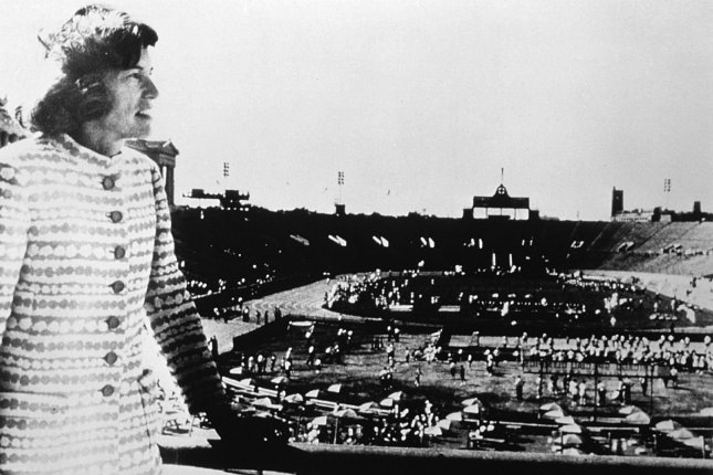 Special Olympics founder Eunice Kennedy Shriver overlooks Soldier Field in Chicago at the 1968 games, the first to be held. Photo courtesy Special Olympics
