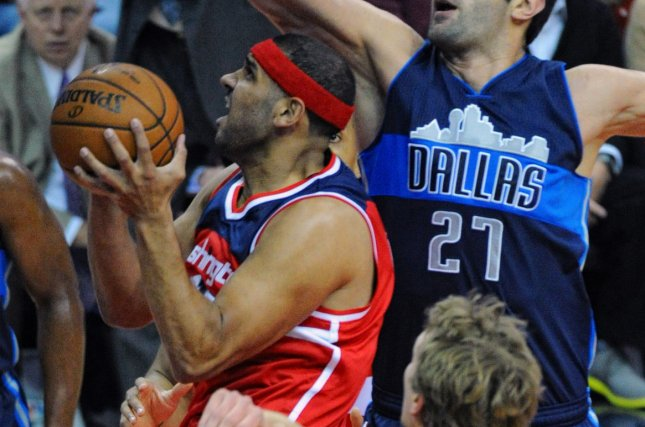 Former Washington Wizards forward Jared Dudley (L) spent last season with the Brooklyn Nets. He averaged 4.9 points in 20.7 minutes per game in Brooklyn. File Photo by Mark Goldman/UPI