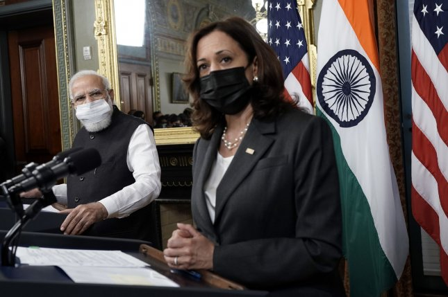 Vice President Kamala Harris made history Thursday, becoming the highest-ranking U.S. official of Indian heritage to welcome an Indian prime minister as she met with Narendra Modi. Photo by Yuri Gripas/UPI