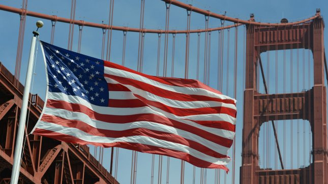 The American Flag flies over Fort Point under the Golden Gate Bridge in San Francisco on July 4, 2012. UPI/Terry Schmitt