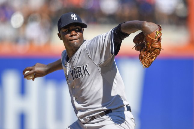 New York Yankees starting pitcher Michael Pineda (35) throws in the 6th inning against the New York Mets at Citi Field in New York City on September 19, 2015. Photo by Rich Kane/UPI