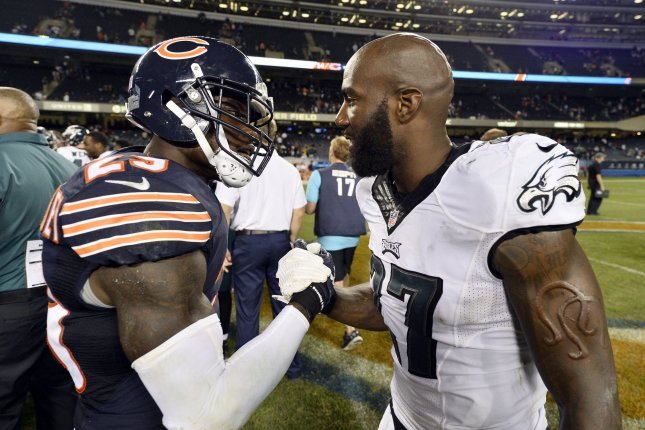 Philadelphia Eagles strong safety Malcolm Jenkins (R) and Chicago Bears strong safety Harold Jones-Quartey shake hands after the game at Soldier Field in Chicago on September 19, 2016. The Eagles defeated the Bears 29-14. Photo by Brian Kersey/UPI