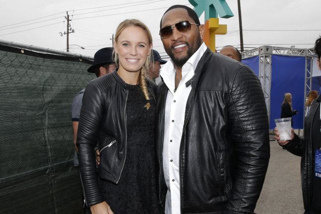 Caroline Wozniacki and Ray Lewis arrive at the Wheels Up Super Saturday Tailgate event on the eve of Super Bowl LI in Houston, Texas on February 4, 2017. The New England Patriots will play the Atlanta Falcons in Super Bowl LI on Sunday at NRG Stadium. Photo by John Angelillo/UPI