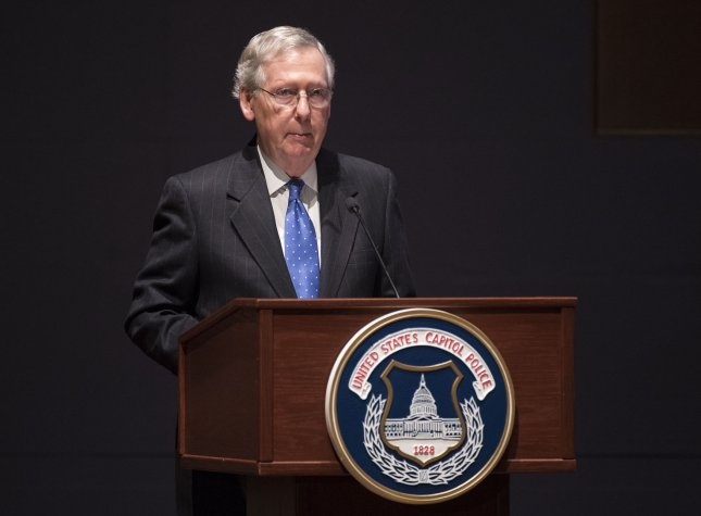 Senate Republican leader Mitch McConnell said Senators plan to include language to repeal the Affordable Care Act's individual mandate in the Tax Cuts and Jobs Act. Photo by Kevin Dietsch/UPI